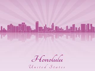 Honolulu skyline in purple radiant orchid
