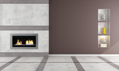 Gas fireplace in a elegant room