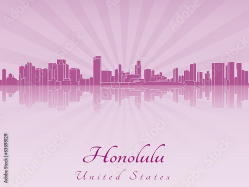 Honolulu skyline in purple radiant orchid