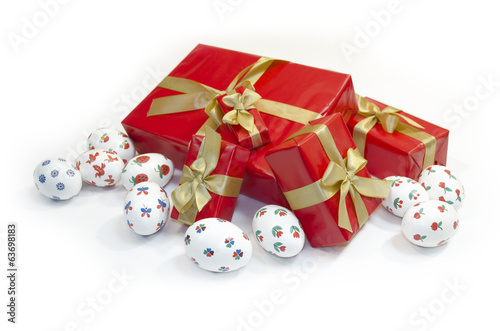 Easter eggs and gifts boxes