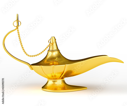 Golden Aladdin magic genie lamp isolated