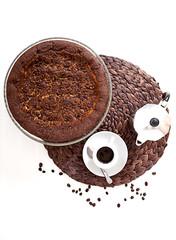 Torta tiramisù accompagnata da caffè espresso
