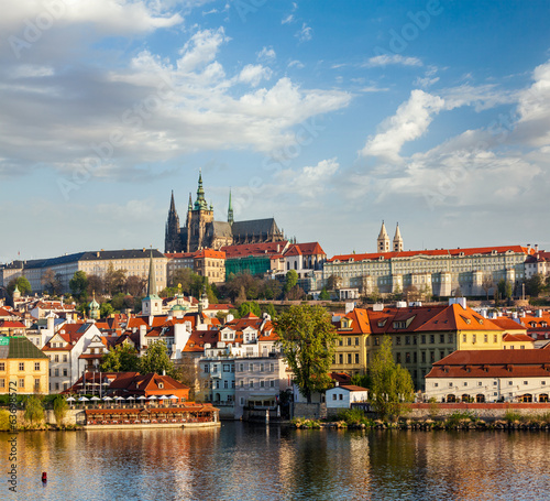 View of Mala Strana and  Prague castle over Vltava river
