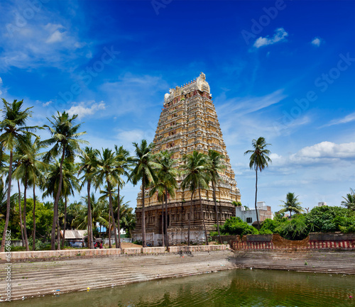 Gopura (tower) and temple tank of Lord Bhakthavatsaleswarar Temp