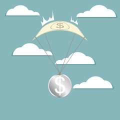 Financial Crisis, dollar with parachuting