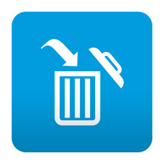 Etiqueta tipo app azul simbolo papelera de reciclaje