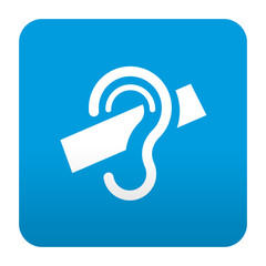 Etiqueta tipo app azul simbolo subtitulado