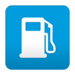 Etiqueta tipo app azul simbolo gasolinera
