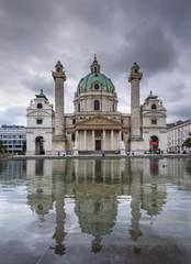 Karlskirche´s church and reflection