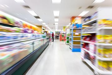 Empty supermarket aisle,motion blur