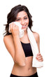 Постер, плакат: Woman wiping sweat with towel