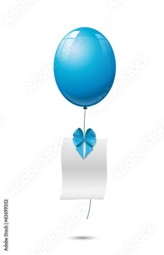 blue balloon with blank sheet and ribbon, background - illustrat