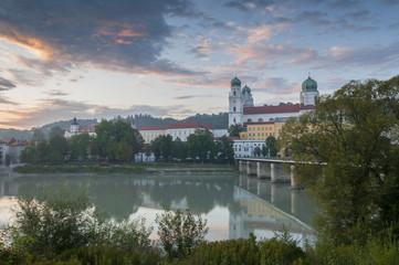 Sunset over the Donau in Passau, Germany