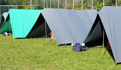 tents set up in a campground