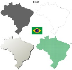 Blank detailed contour maps of Brazil