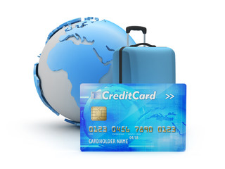 Pay for travel by credit card - concept illustration