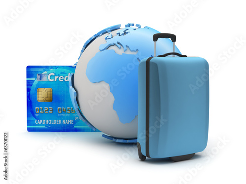 Baggage, credit card and earth globe