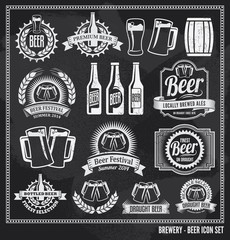 Beer Chalkboard Icon Set - labels, signs, vector design