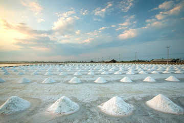 Piles of salt on the surface of the salt lake, Thailand