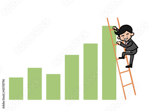 Businessman cilmb ladder to top graph