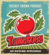 Retro tomato vintage advertising poster - sign and label design