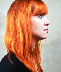 glowing Red Hair Woman