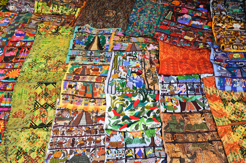Decorative carpets at the market of Santiago de Atitlan