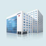 Fototapeta city hospital building with reflection