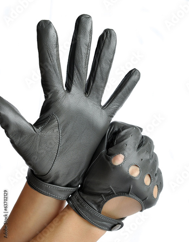 A pair of elegant women's leather gloves