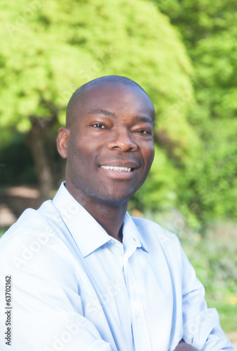Portrait of an african man in a park