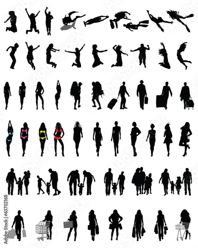Silhouettes of people in different situations, vector