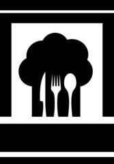 chef hat on black background