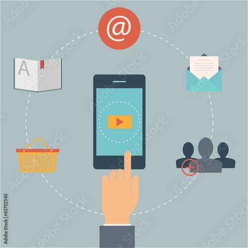 Set of flat design web icons for mobile phone services and apps.