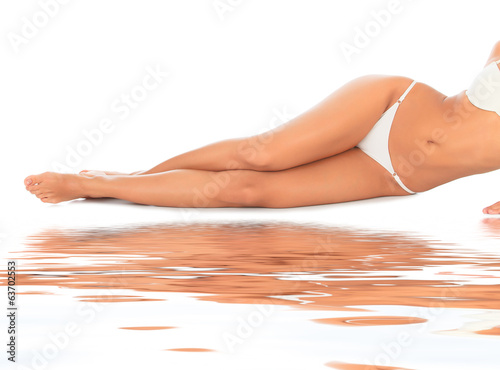 Female legs on white floor, water reflection added
