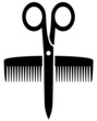 icon with scissors and comb