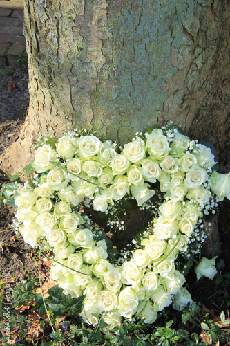 Heart shaped sympathy flowers