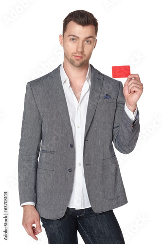 Business man showing blank businesscard