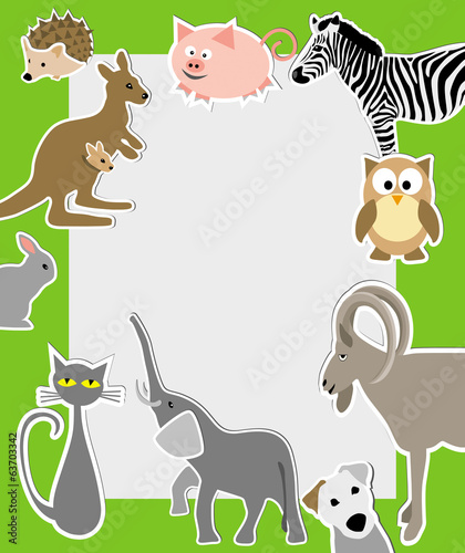 cartoon style animals: owl, elephant, pig, zebra, rabbit, cat ka