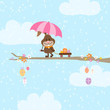 Bunny Umbrella Tree Handcart Easter Eggs Sky