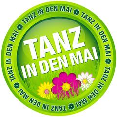 """Button """"Tanz in den Mai"""" Blumen grün"""