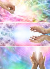 3 x healing hands website banners