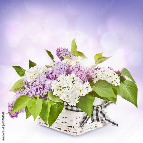 Poster Lilac Lilac flowers in basket