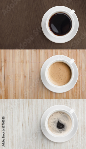 coffee on wooden table top view set