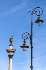 Street lamp and Zygmunt III Vasa.