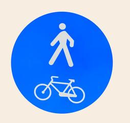 pedestrian and bike lane sign on white