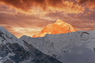 Makalu peak (8463 m) at sunset. Nepal, Himalayas.