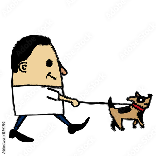 Man having a walk with his dog