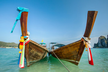 Longtail boats at the tropical beach of Poda island, Andaman sea