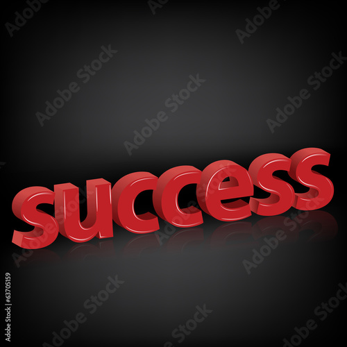 Success words on black background