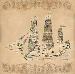 Sailing ship silhouette over antique map - retro postcard